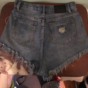High Waisted Denim Shorts, Size 8